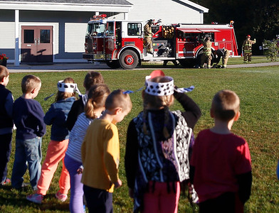 Fisher Elementary school practices fire safety. 101116