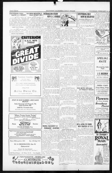 Daily Trojan, Vol. 16, No. 52, February 19, 1925