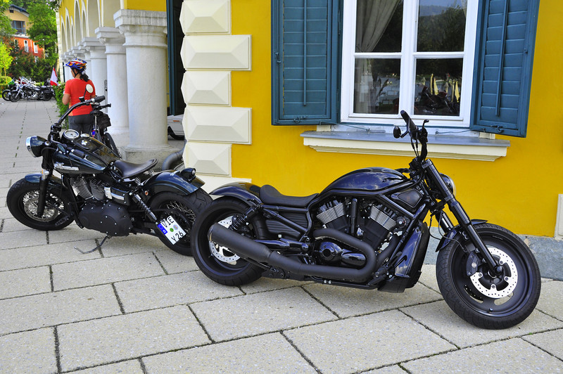 Harley rockets outside our hotel, Schloss Velden