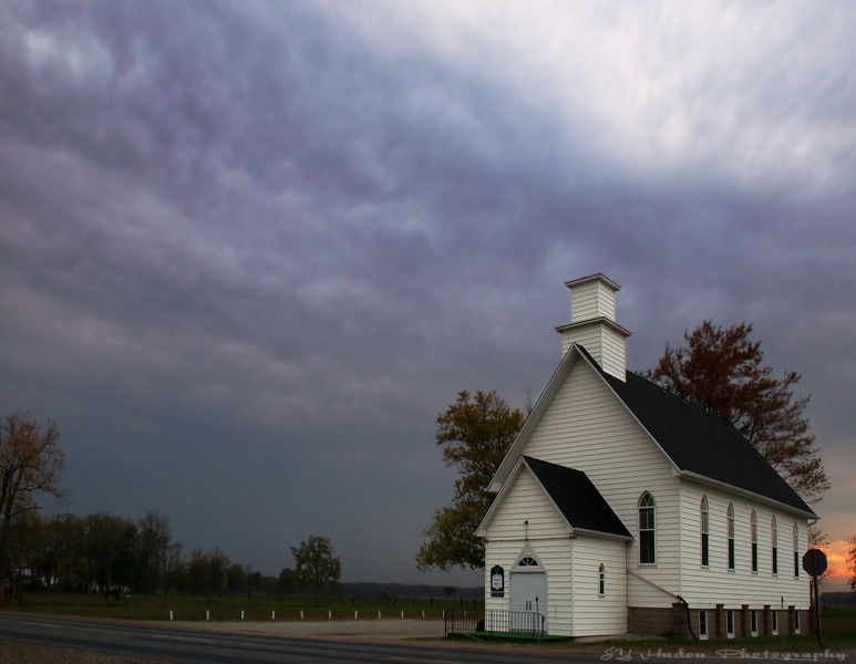 Oct 17th, 2007 The little white church in the country. The sky had such a mixed of colors last night. Have a great day. JY
