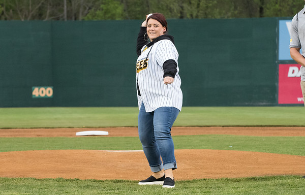 05/03/19 Wesley Bunnell | Staff The New Britain Bees home opener vs the Somerset Patriots on Friday night at New Britain Stadium. New Britain Mayor Erin Stewart throws out her ceremonial first pitch.