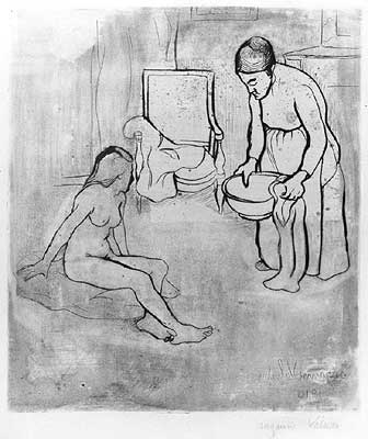 """Suzanne Valadon, """"Grandmother With Louise Nude Seated on the Ground,"""" 1910"""