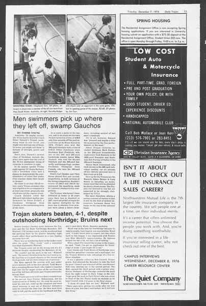 Daily Trojan, Vol. 70, No. 49, December 07, 1976