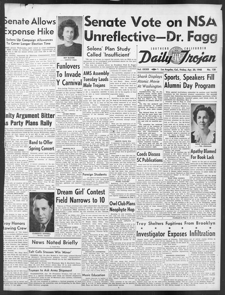 Daily Trojan, Vol. 39, No. 130, April 30, 1948