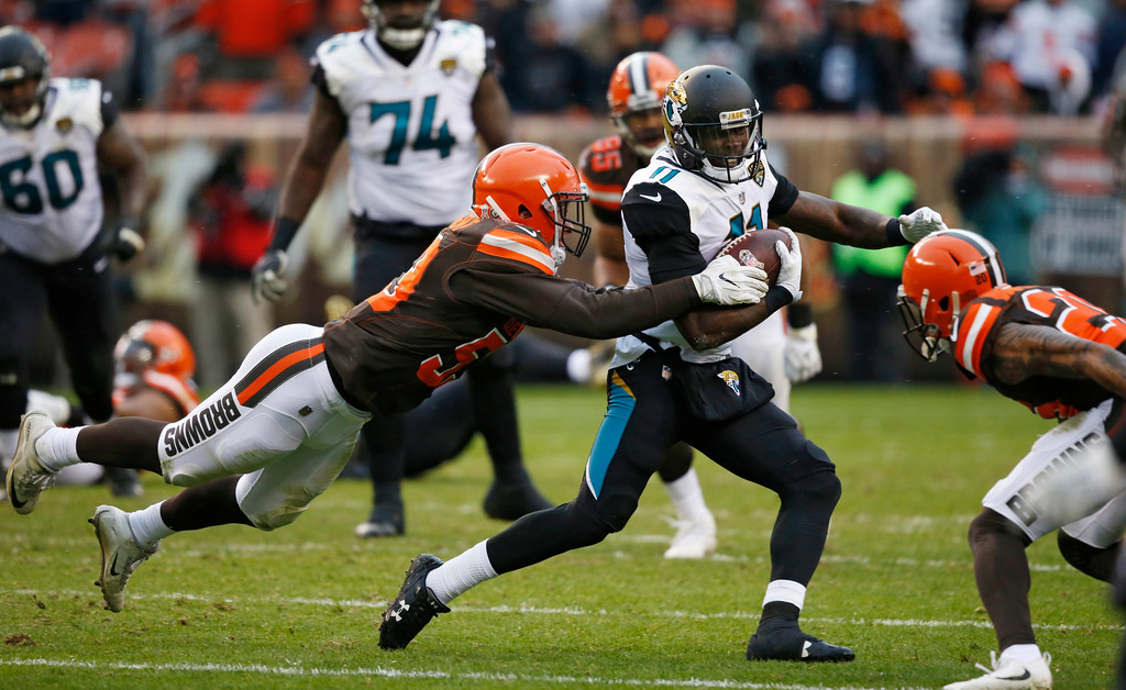 . Jacksonville Jaguars wide receiver Marqise Lee (11) rushes against the Cleveland Browns in the second half of an NFL football game, Sunday, Nov. 19, 2017, in Cleveland. (AP Photo/Ron Schwane)