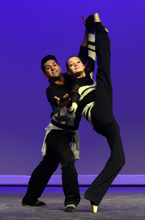 """. Alexandra Lengyel of Brentwood and Ricky Navarro of Pittsburg, members of the Black Diamond Ballet Theatre, rehearse to \""""Let\'s Do It, Let\'s Fall In Love\"""" during a dress rehearsal in preparation for the Jan. 19 opening gala at the restored California Theatre in Pittsburg, Calif. on Tuesday, Jan. 15, 2013. (Susan Tripp Pollard/Staff)"""