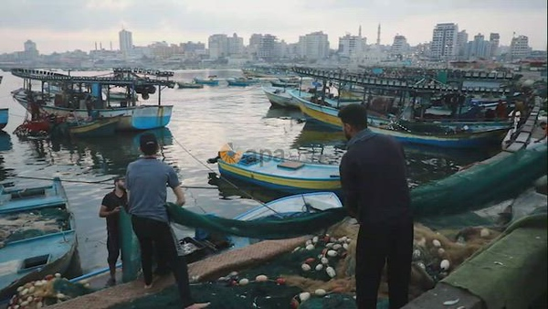 Palestinians buy fishes at fish market after Israel expand the fishing zone in the Gaza Strip to 15 nautical miles
