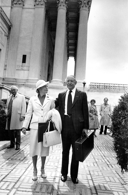 . Former Associate Justice of the Supreme Court Abe Fortas is accompanied by his wife Carolyn as he walks outside the high court building in Washington, on March 3, 1982, after pleading a case here. Fortas was appointed to the court by President Johnson, but resigned in disgrace, after disclosure of payments he received from private sources while on the bench.  (AP Photo/Bob Daugherty)