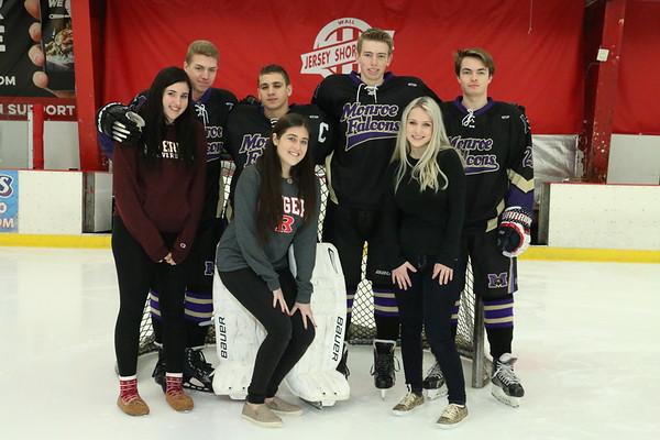 Feb. 13, 2017 Ice Hockey Team pics Var & JV, plus Srs, Captains, and individual mug shots