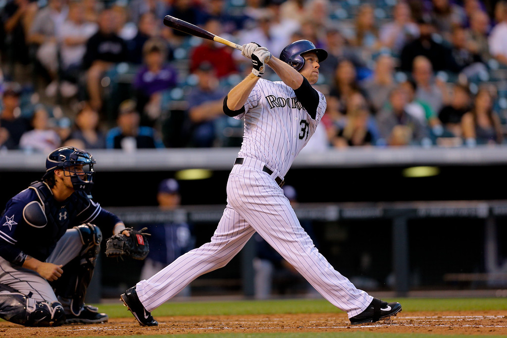 . DENVER, CO - SEPTEMBER 6:  Justin Morneau #33 of the Colorado Rockies watches his two run home run during the third inning as catcher Yasmani Grandal #8 of the San Diego Padres looks on at Coors Field on September 6, 2014 in Denver, Colorado. (Photo by Justin Edmonds/Getty Images)