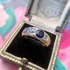 1.55ctw Old Mine Cut and Sapphire Gypsy Ring, GIA 19