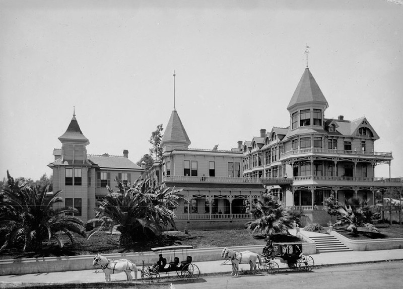 Exterior view of the Bellevue Terrace Hotel, ca.1890-1895