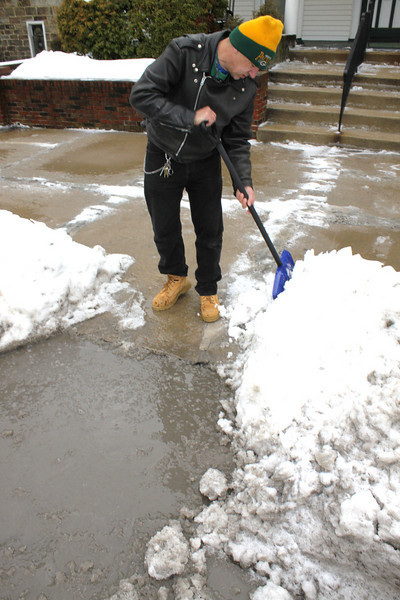 Man Shoveling Slush, Clearing Drains, West Broad St, Tamaqua (1-19-2011)