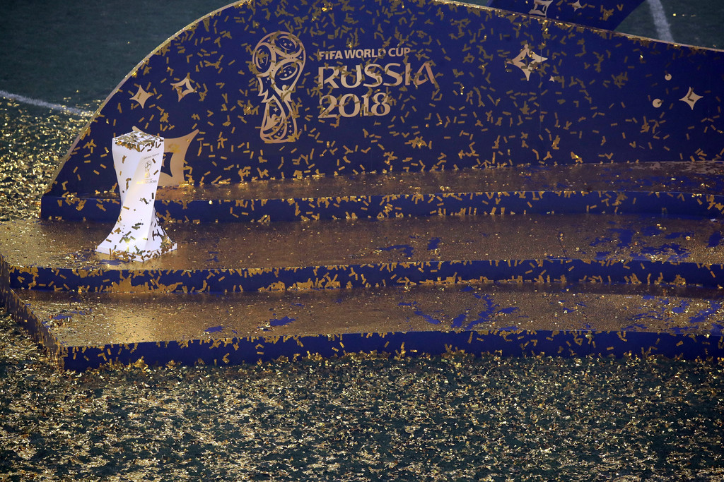 . Confetti covers the stage after the trophy ceremony at the end of the final match between France and Croatia at the 2018 soccer World Cup in the Luzhniki Stadium in Moscow, Russia, Sunday, July 15, 2018. (AP Photo/Thanassis Stavrakis)