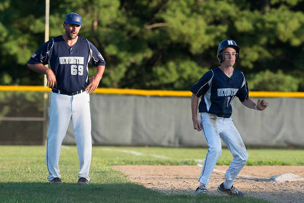 07/08/19 Wesley Bunnell | Staff Newington baseball defeated Bristol in an American Legion game in Newington on Monday July 8, 2019. Domenick Bukowski (14) takes a lead off third base.
