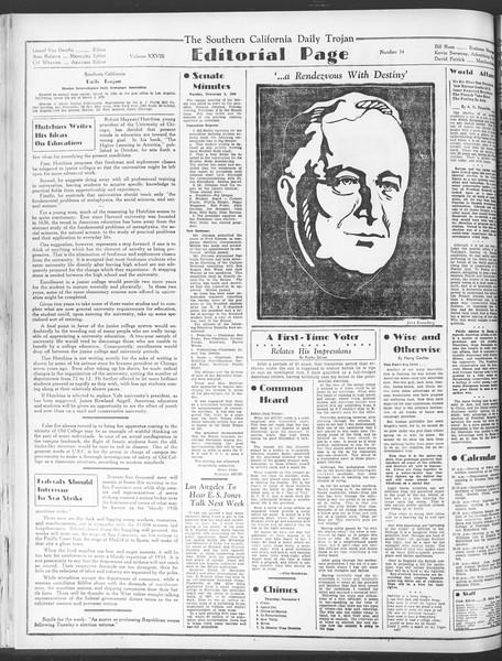 Daily Trojan, Vol. 28, No. 34, November 05, 1936