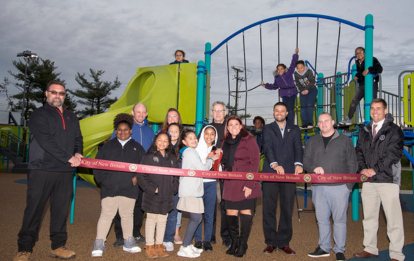 11/04/19 Wesley Bunnell | StaffrrA ribbon cutting was held at Chesley Park celebrating the completion of the Phase 2 renovation project. Children from Smalley School surround Mayor Erin Stewart and officials prior to the ribbon cutting.