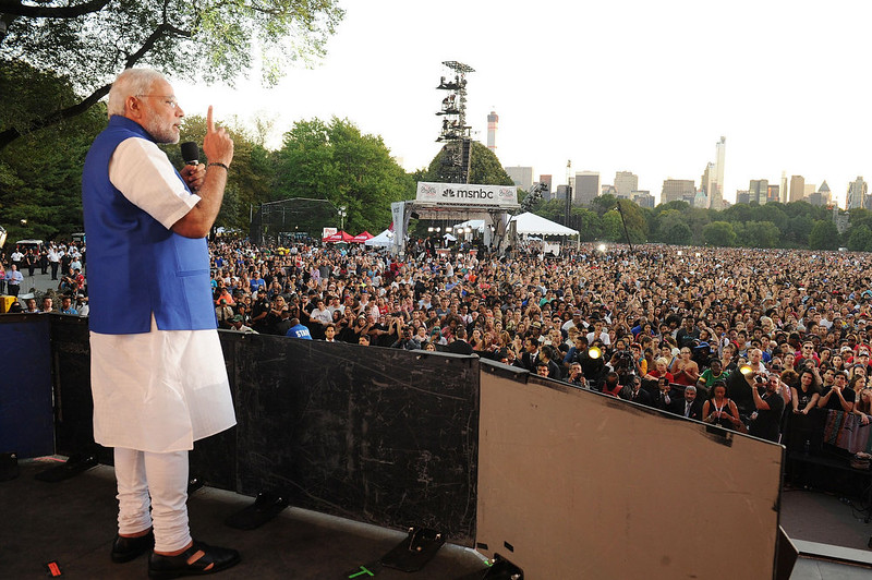 . Indian Prime Minister Narendra Modi addresses the Global Citizen Festival, at Central Park, in New York.  India\'s new Prime Minister Narendra Modi in his UN debut September 27 presented a worldview shaped by ancient tradition, promoting multilateralism as well as yoga.  AFP PHOTO/PIB