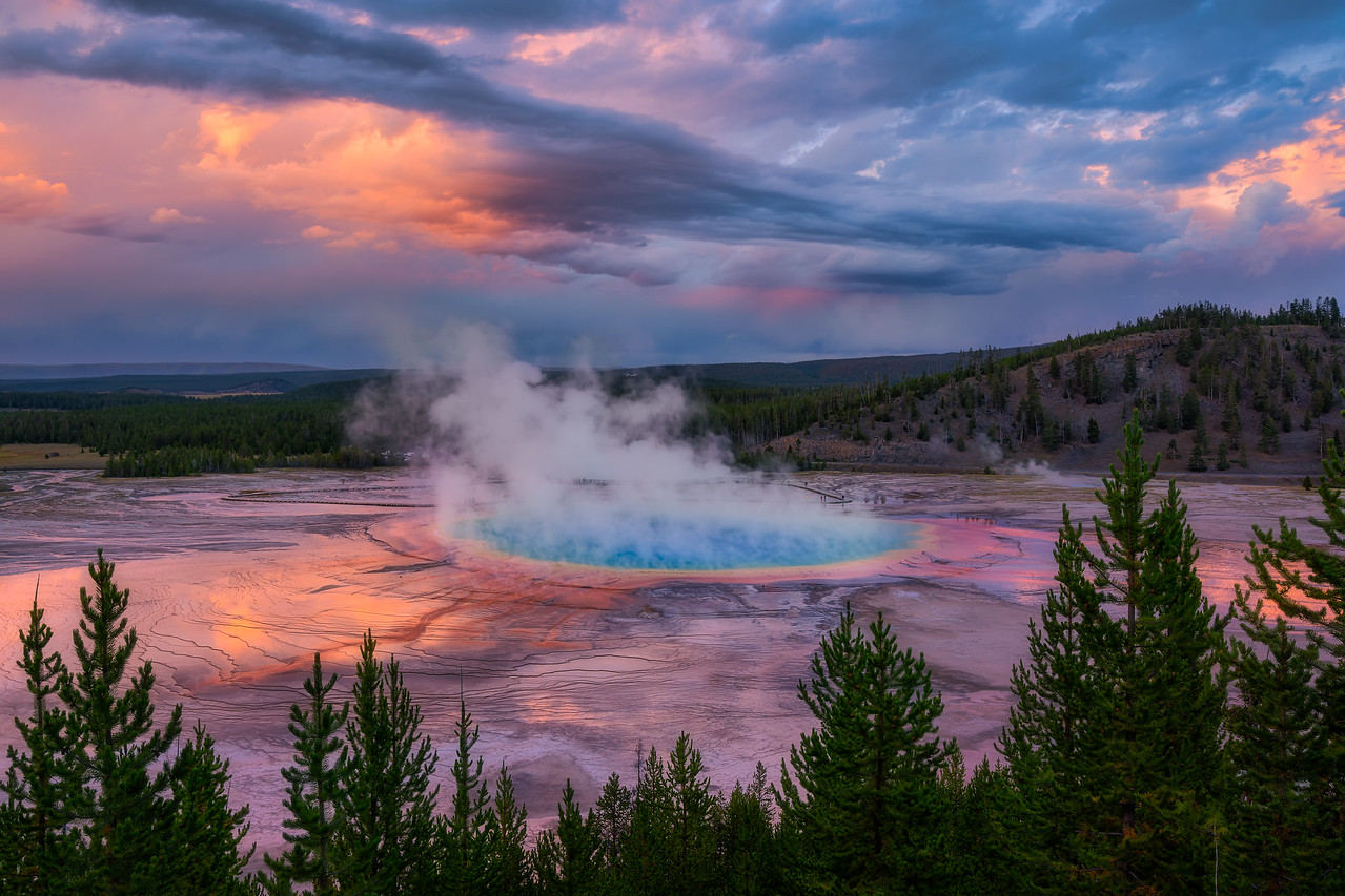 Grand Prismatic Spring Landscape Photography Yellowstone National Park