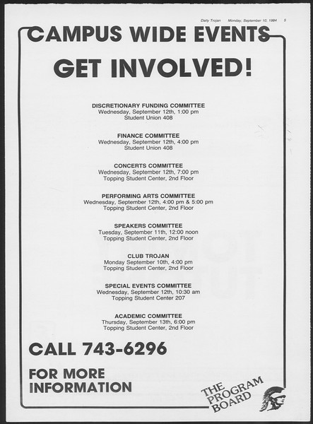Daily Trojan, Vol. 97, No. 5, September 10, 1984