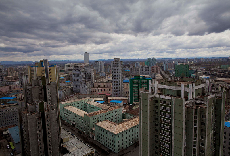 . Clouds hang over the skyline of central Pyongyang, North Korea on Monday April 18, 2011.  (AP Photo/David Guttenfelder)