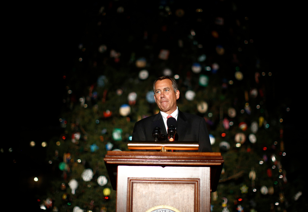 . U.S. House Speaker John Boehner (R-OH) speaks at the official lighting ceremony of the U.S. Capitol Christmas Tree in Washington, December 4, 2012.     REUTERS/Jason Reed