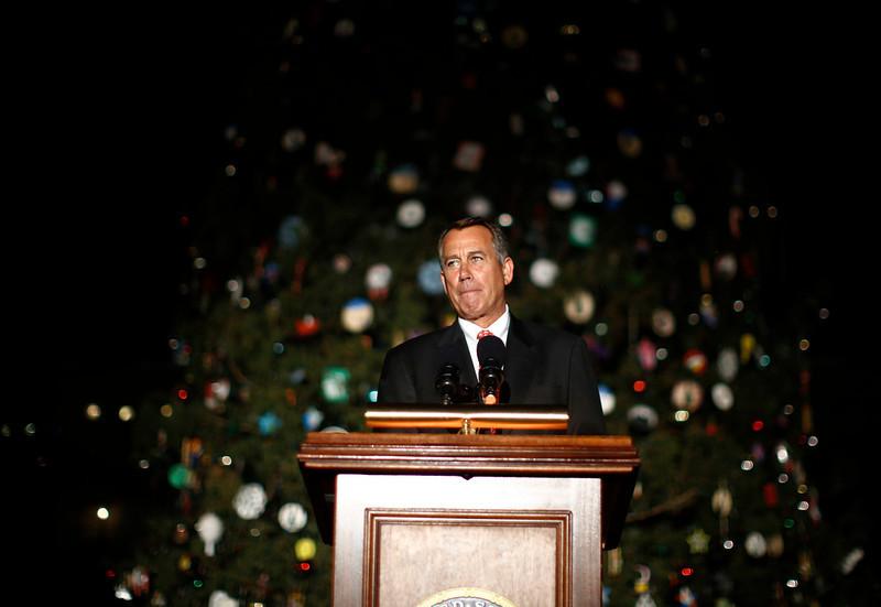 . U.S. House Speaker John Boehner (R-OH) speaks at the official lighting ceremony of the U.S. Capitol Christmas Tree in Washington, December 4, 2012.     REUTERS/Jason Reed