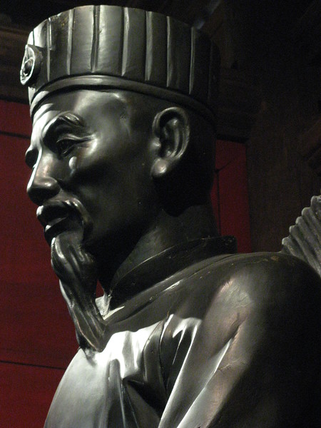 A statue in a temple at the Temple of Literature.