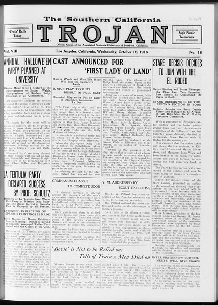 The Southern California Trojan, Vol. 8, No. 18, October 18, 1916