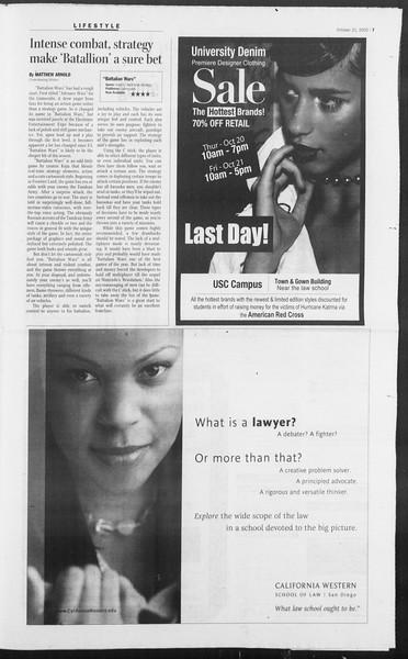 Daily Trojan, Vol. 156, No. 43, October 21, 2005