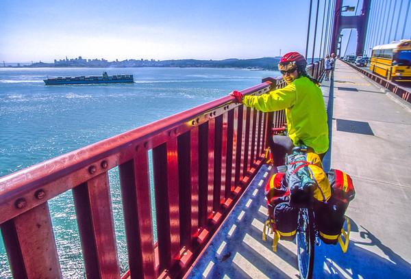 Cyclist on Golden Gate Bridge