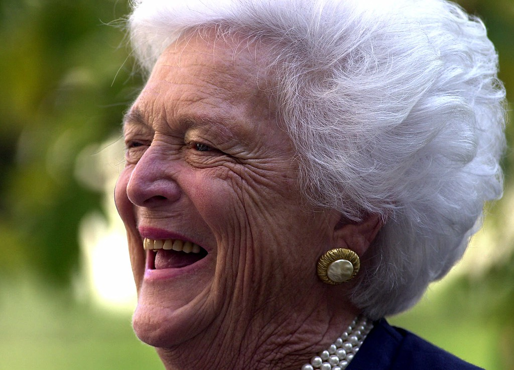 . Former first lady Barbara Bush smiles during a light moment Thursday, Oct. 19, 2000, at the Fox Chase Cancer Center in Philadelphia. Bush was campaigning for her son, Republican presidential candidate Texas Gov. George W. Bush.  (AP Photo/Dan Loh)