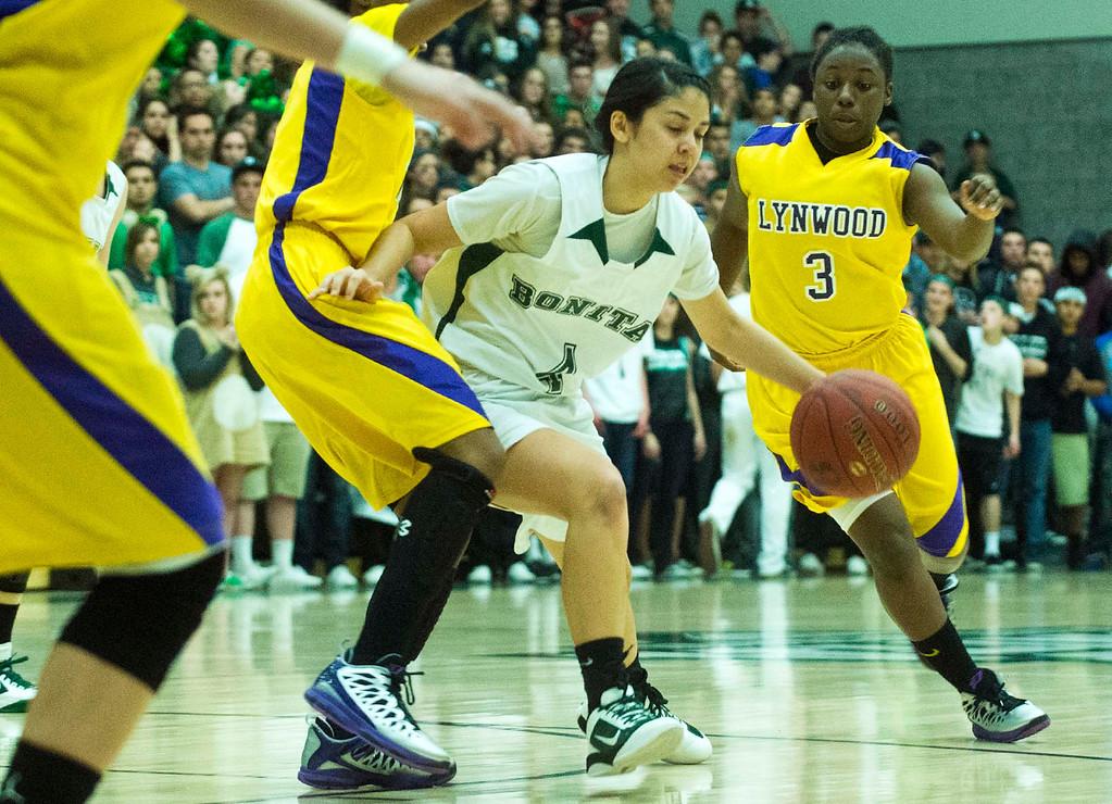 . Bonita vs Lynwood CIF-SS Divisions 2AA girls basketball semifinals at Bonita High School in La Verne on Tuesday evening, Feb. 26, 2013. Lynwood won 60-47. (SGVN/Staff photo by Watchara Phomicinda)