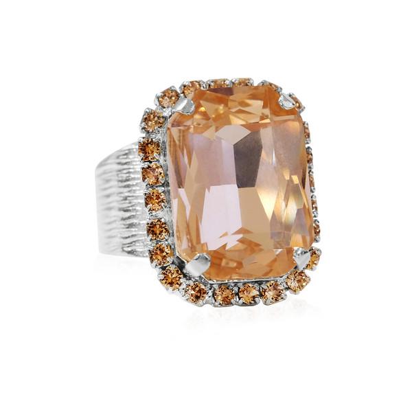 Lydia Cocktail Ring / Light Peach Rhodium