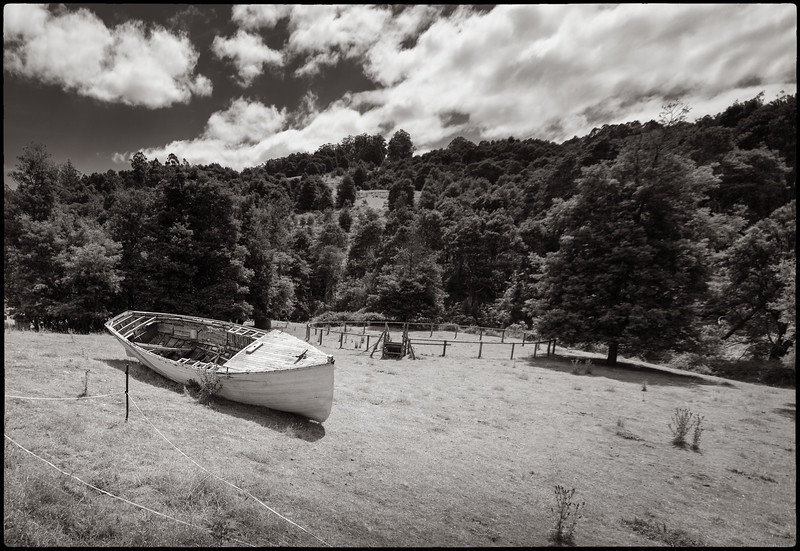 Boat in a Meadow in Huonville, Tasmania