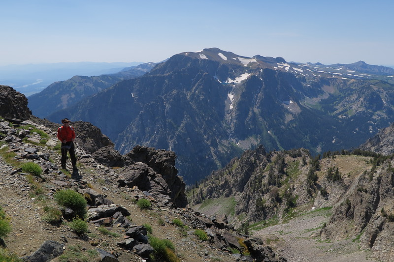 Jim starts down from Static Peak Divide