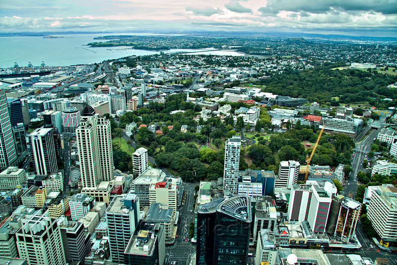 Sky Tower View - East over Albert Park and U of Auckland