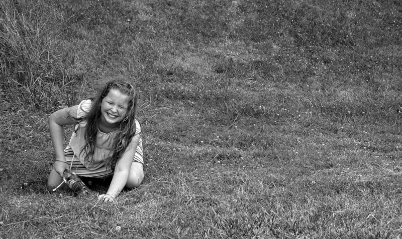 Abigail, 9, Climbing a Hill