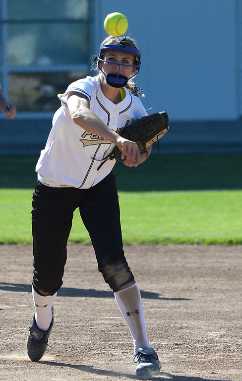 . Peninsula\'s Brooke Christensen rifles a throw to first from third for an out against Arroyo Grande in a CIF Southern Section Division III wild-card softball game in Rolling Hills Estates Tuesday. Peninsula won the game 13-0. 20130514 Photo by Steve McCrank / Staff Photographer