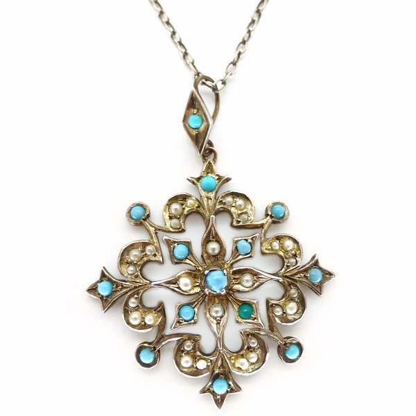 Antique Edwardian Silver Turquoise Glass Cabochon Pearl Floral Starburst Pendant Necklace