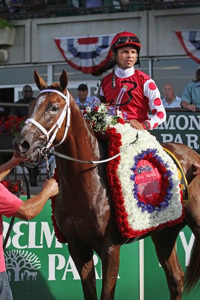 Henley's Joy (Kitten's Joy) and jockey Jose Lezcano win the Belmont Derby Invitational (Gr I) at Belmont Park 7/6/19. Trainer: Michael Maker. Owner: Bloom Racing Stable, LLC