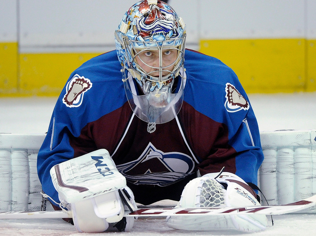 . Colorado goaltender Semyon Varlamov prepared for the game Tuesday.  Photo By Karl Gehring/The Denver Post