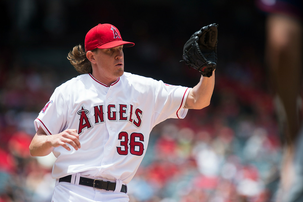 . Angels\' Pitcher Jered Weaver (#36) receives the throw at first base as they play the Minnesota Twins at Angel Stadium in Anaheim on Thursday June 26, 2014. (Photo by Keith Durflinger/Whittier Daily News)