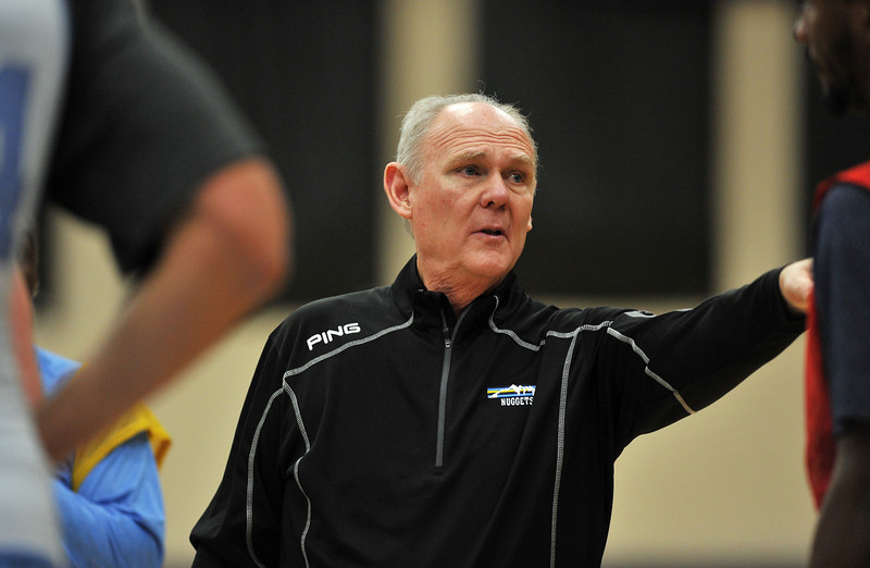 . Head coach George Karl of Denver Nuggets is in the team practice for the 1st round of playoff game against Golden State Warriors at Pepsi Center. Denver. Denver, Colorado. April 19, 2013. (Photo By Hyoung Chang/The Denver Post)