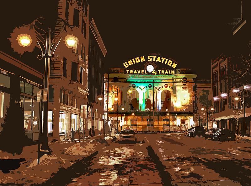Stylized image of Denver's Union Station.