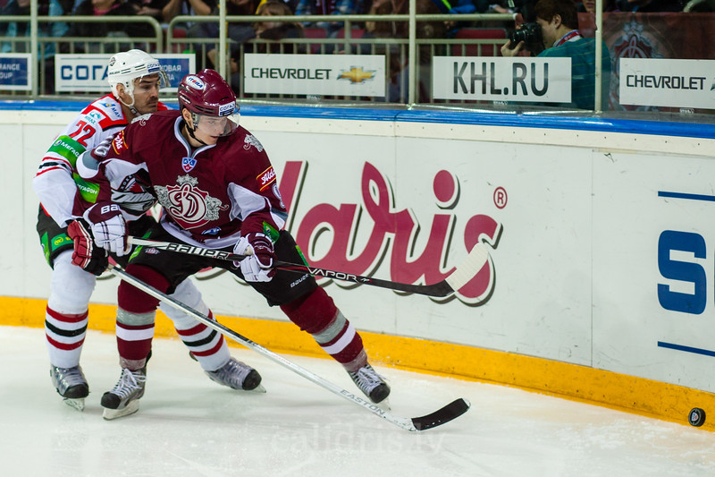 Jan Kolar (72) and Maris Bicevskis (96) during KHL regular championship game between Dinamo Riga and Donbass Donetsk in Arena Riga