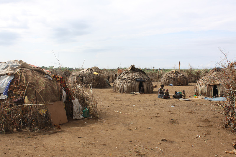 Small domed huts typical of a nomadic people