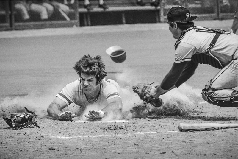 Pete Rose stealing home in 1972