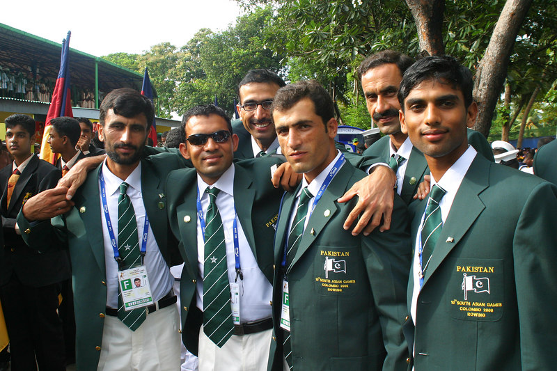 At the stadium in downtown Colombo.  We were the first Pakistanis there since the main team was coming from the Colombo hotel.  As usual the liason officers rushed us to get there, and when we get there, we wait around for three hours.
