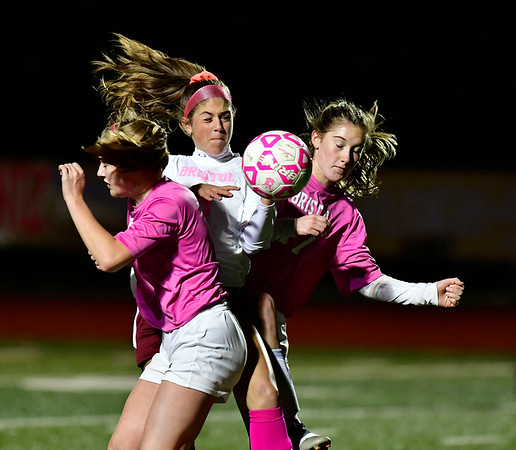 11/5/2019 Mike Orazzi | StaffrBristol Eastern's Kate Kozikowski (10) and Lili Morneault (7) and Bristol Central's Emily Lowe (3) during girls soccer at BC Tuesday night. r